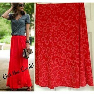 LuLaRoe Roses Maxi Red Floral Skirt Medium 🦄